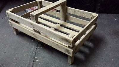 FRENCH GENUINE WOODEN POTATO PANNIER/ TRUG VEGETABLE BASKET DISPLAY CASE CRATE..