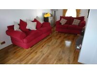 3 x seater and 2 x seater sofa with footstool