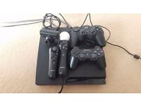 Sony PlayStation 3 160GB Slim Console CECH 3003a All wires PS3 Controllers move 23 games