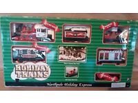 Vintage Working Motorised Christmas Train w Track Northpole Holiday Express 10ft+ of Track