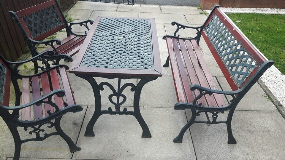 Fine Cast Iron Garden Furniture Outdoor Table And Chairs Benches Bench Ends Patio Furniture Cast In St Helens Merseyside Gumtree Short Links Chair Design For Home Short Linksinfo