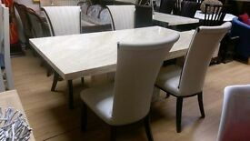Cream marble dining table and 4 chair sets