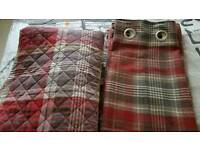 Red and grey tartan curtains throw and rug from Next