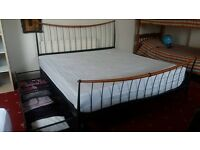 £250 SUPERKING SIZE BED, mattress, 4 drawers, quilt, 2 sets of luxurious bedding EXCELLENT CONDITION