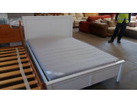 White IKEA double bed frame with mattress (good condition)