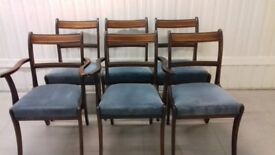 6 Regency dining chairs,mahogany,carved,clean cushion,3 wobbly,2 carver,no table