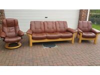 Ekornes Stressless 3 seater sofa & 2 chairs leather recliners