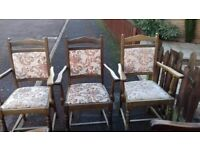 3 dining chair,solid oak,carve leg & back,3 carvers,stable,cushion wear,no table