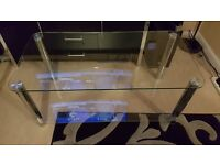 John Lewis large glass and chrome coffee table/tv stand