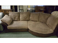 CORD AND SUEDE CORNER SOFA AND SNUGGLE CHAIR