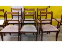 4 Regency dining chairs,Yew wood,carved,stable,NO carvers,cushion clean,no table