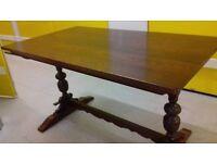 solid oak dining table,genuine Old Charm,carved leg,length 130cm,width 75cm,rectangular