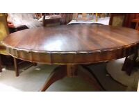 Round dining table, sit 6 people, rotating center, solid mahogany,carved leg, 150 cm, very heavy