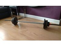 Barbell and 40kg Cast Iron Weights