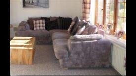 DFS Corner Sofa - Charcoal grey & black
