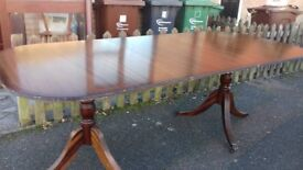 Regency dining table,mahogany,160-210CM,extendable,castor,round end,no chairs