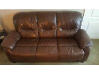 Italian Brown leather, Fire proof, Three Seater Sofa