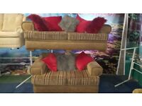 3 & 2 fabric sofas with scatterback cushions