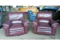 Pair of Burgundy Leather La-Z Boy Recliner Armchairs