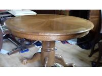 Round dining table,solid oak,non-extendable,carved,105cm,lion shape leg,adjust screw