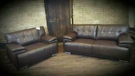 3 seater leather sofa + snug chair