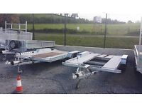 CAR TRANSPORTER TRAILER WITH BEAVER TAIL AND RAMPS 4 WHEEL BRAKING LED LIGHTS RECOVERY TRUCKS VANS