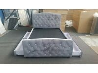 🔰🔰 Brand New Plush Velvet Bed with Diamonds Headboard and 4 Drawers - King Size 🔰🔰