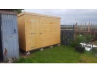 10ft x 8ft Wooden Garden Pent Shed