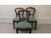 3 dining chairs,balloon back chair,Victorian style,carved back,wobbly