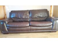 3 + 1 BEAUTIFUL BROWN LEATHER SOFA AND CHAIR