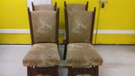 4 dining chairs,solid oak,sturdy,stable,cushion not clean,no table