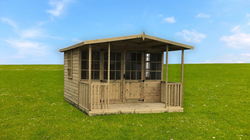 10x8 summerhouse with 2ft veranda shed garden office tg treated email us for other sizes