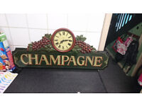 LARGE DECORATIVE WOODEN PUB SIGN WITH TIME CLOCL ORIGINAL COUNYRY CORNER 1960S