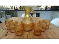 Vintage glass and jug set