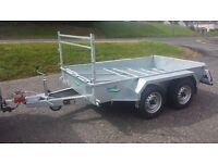 builders galvanised twin wheel trailer with meshsides and ramp