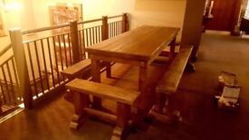 Bench seating,built from reclaimed heavy timbers
