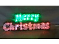 Red & Green LED Flashing Merry Chistmas Sign by The Christmas Workshop