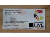 1 Cambridge Folk Festival Ticket Saturday 29th July for £70