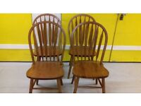 4 dining chairs,solid oak,Windsor style,carved,stable but one broken