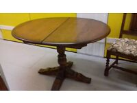 Oval dining table,solid oak,extendable,carved leg,Old Charm,115cm-155cm,no chair