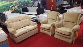 3 piece beige fabric suite