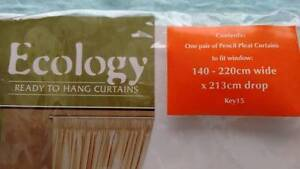 Ecology 'Sunout' Pencil Pleat Curtains including Tiebacks NEW Whitfield Cairns City Preview