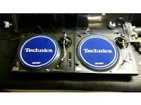 Technics 1210 mk2 turntables with needles and 2 boxs of vinyl