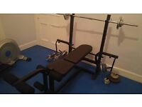 Marcy weight lifting bench plus weights barbell dumbbells