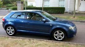 Audi A3, Full service history+long MOT. 3-door, TDI Sport with roof spoiler. Diesel, 6-speed manual.