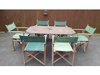 Wooden garden table and 6 x wooden green director chairs
