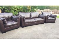 Italian Leather 3 Piece Suite Sofa Settee + 2 Chairs