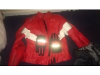 Ladies leather Clover Red And White ladies jacket and gloves