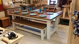 Dining Table and Benches Set - Rustic and Chunky Farmhouse