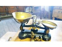 Antique Libra Scales With Six Bell Weights